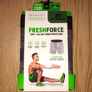 2 Men's Fresh Force Odor Long Leg Boxer Briefs XL